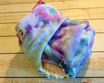 Hand dyed cotton velour/heavy organic bamboo fleece fitted diaper Sow Much Love tie dye
