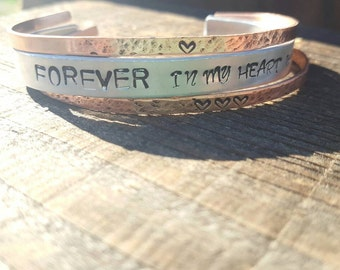 Forever In My Heart, 3 Hammered Bracelets, Stacked Hammer Bracelet Variety Pack, Personalized Bracelet Set, Hand stamped Cuffs, Stacked Set