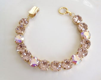 Swarovski light blush pink rhinestone bracelet, Bridal jewelry, bridesmaid bracelet, old Hollywood, bridesmaid gift, ballet pink, light pink