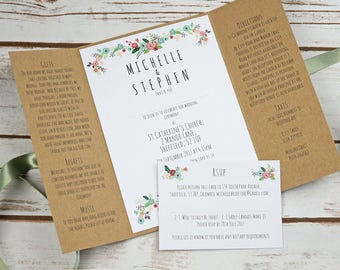 Floral rustic kraft wedding invitation, gatefold, colourful, summer, alternative, barn wedding, rsvp, flowers, vintage, woodland, recycled,