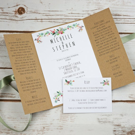 Floral Rustic Kraft Wedding Invitation Wedding Invite