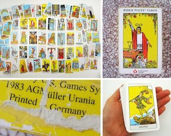Tarot card deck complete, rider waite tarot cards vintage full deck print 1980s