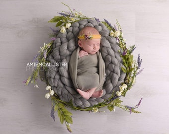 Grey Braid bump baby photography prop boa basket filler 10f (3m) stuffer Merino Wool Crochet Braid Wool Roving UK seller RTS