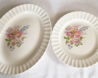 1940s Edwin M.  Knowles Floral Plates - Set of 2