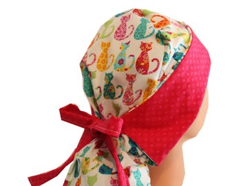 Surgical Scrub Hat Scrub Chef Vet Chemo Cap Front Fold Ponytail Calico Cats Pink Blue yellow Orange Green  2nd Item Ships FREE