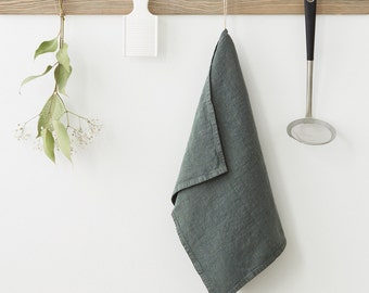 Forest Green Stone Washed Linen Tea Towel