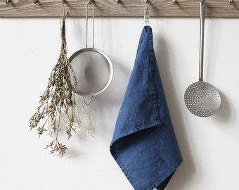 Blue Stone Washed Linen Tea Towel