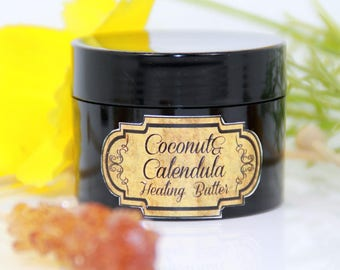 Coconut & Calendula healing butter, sensitive and dehydrated skin butter,  anti-acne butter, oily skin butter, problematic skin butter