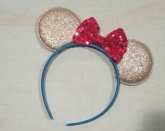 Ear Headband  - Silver & Pink - RTS
