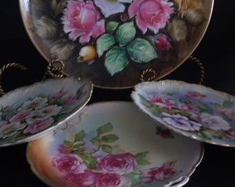 Vintage, Set of Four Porcelain Rose Plates