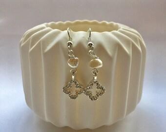 Silver and Pearl Dangle earrings