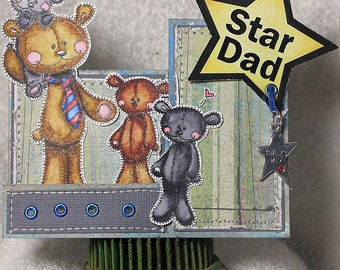Happy Father's Day Birthday Father Fathers Dad Grandpa Masculine Manly Handmade One of A Kind Unique Unusual Greeting Card