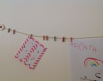 Mini clothespin garland with vintage buttons
