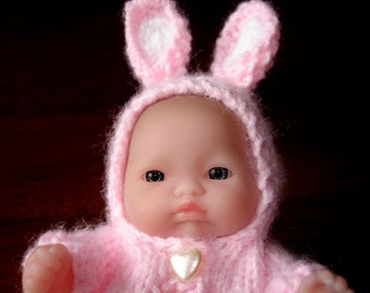 "Lots To Love, Berenguer, Tiny Easter Bunny Doll - Too Cute For Words Baby - 5"" Tall - Pink Hand Knit Bunny Outfit"
