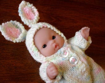 "Lots To Love, Berenguer, Tiny Easter Bunny Doll - Too Cute For Words Baby - 5"" Tall - Pastel Variegated Hand Knit Bunny Outfit"