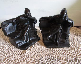Sale-Antique Kronheim Oldenbusch Poet Dante Metal Bookends 1920-1930.