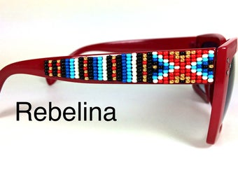 SALE Hand Beaded Sunglasses Red Hot