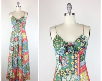 70s Floral Maxi Dress / 1970s Vintage Quilt Floral Print Cotton Dress / Medium / Size 8