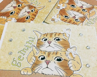 Gemini Cat zodiac sign + lucky color cards Greeting Card (5x7 size) red tabby cat, american short hair, face on face