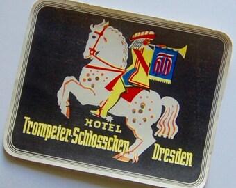 Vintage Luggage Label Trompeter Schlosschen, Dresden, Germany