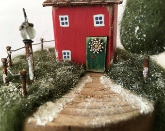 Christmas Decoration, Christmas House, Snow scene, Reclaimed wood, Recycled Art, Christmas Ornament, Handmade Christmas, Tildys Room