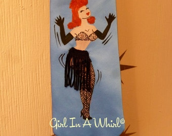 Vtg style handpainted burlesque, pinup tie, 40's 50's style, 3d fringing showgirl hula hula girl hawaiian