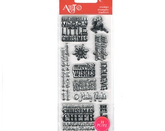 "MERRY LITTLE CHRISTMAS Christmas Cheer Merry Definition Mini 3"" x 6"" Clear Stamp Set by Art-C 1.cc22"