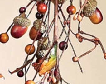 5 Foot Wired Acorn Leaf Berry Autumn Fall Harvest Thanksgiving Decor Garland Wedding Design