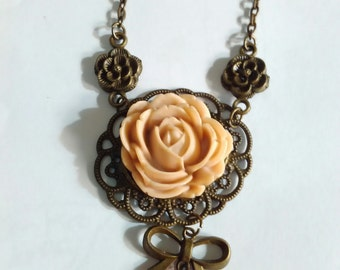 resin flower bow vintage necklace charms