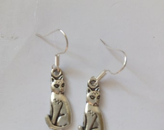 cat earrings neko  flower charms