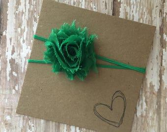 Green MINI Shabby Flower Headband