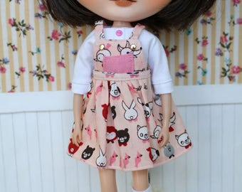 Pinafore dress + shirt + Shocks for Blythe doll, pure neemo, Pullip...