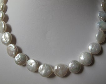 Natural White Cultured Freshwater Coin Pearl Necklace N42
