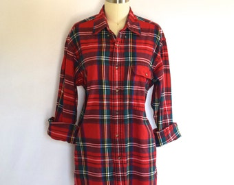 Grunge Brooks Brothers Flannel Shirt/ Red Plaid Cotton Shirt/ Longline Button Down/ Mens Size Small/ Women's Size Medium