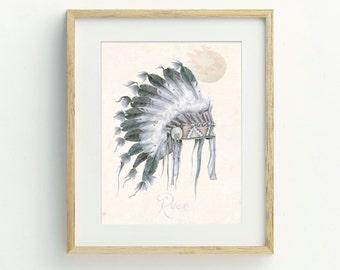 Native American Art Print, A4, Tribal Decor, Boho Chic, Original Artwork, Bohemian Decor, Tribal Wall Art, Bohemian, Archival Print
