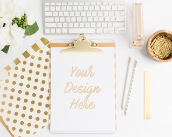 Styled Stock Photography, Gold Styled Desk Mockup, Gold Clipboard Stock Photo, White Desk Flat Lay, Business Branding Image,Instant Download