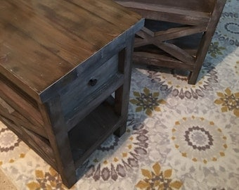 Barn Wood nightstand rustic weathered end table one table