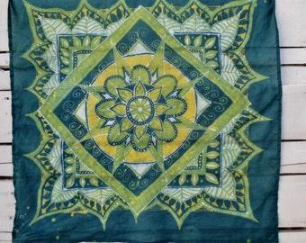 Hand Made Batik Scarf // Mandala Wall Hanging // Hippie Chic Scarf // Cotton Voile Head Wrap