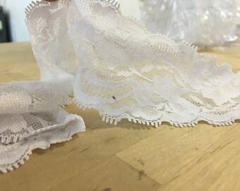 White lace trim, stretch lace trim, elastic floral trim