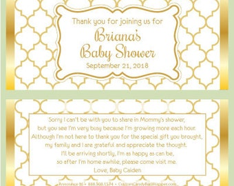 Gold Baby Shower Candy Bar Wrappers - Baby Shower Candy Wrapper Party Favors (with foil)