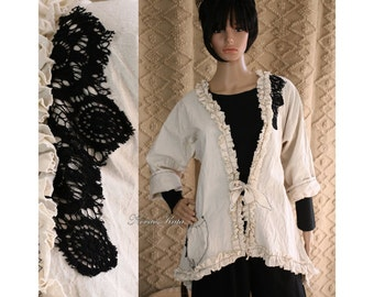Hermina - Pure Cotton Romantic Jacket with Frills and Lace Lagenlook Plus Size Made to Order