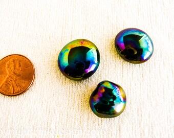 Iridescent black glass cabochons  set of three  BI0025