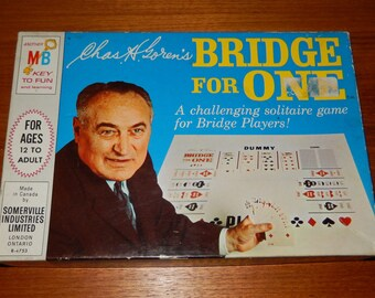 "Vintage ""Bridge for One"" by Milton Bradley from 1967 - COMPLETE"