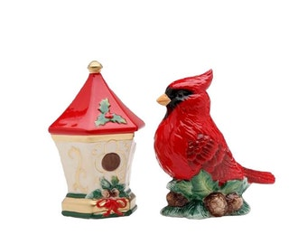 Cardinal with Birdhouse Salt and Pepper Set