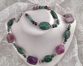 Necklace and Bracelet set, purple, brown green and silver tones
