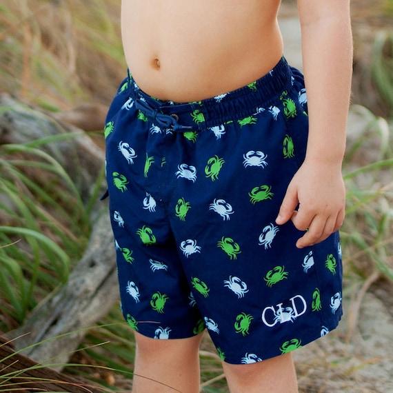 Boys Getting crabby swim suit boys bathing suit swim trunks boys crab bathing suit monogram bathingsuit