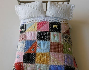 Dollhouse Quilt, Crazy Quilt, Bedding, Shabby Chic, Vintage Style, Handmade OOAK 1/12th Scale