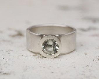 Green amethsyt silver wide band ring; green amethyst silver ring