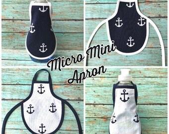 New** Micro Mini Apron - Nautical Anchors Navy Blue & White Miniature Dish Soap Apron