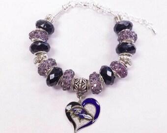Baltimore Ravens Heart Bracelet
